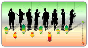 Staff rating. Silhouettes of a group of business people with arrows in different colors demonstrating the rating criterion Stock Image