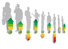 Staff rating. Silhouettes of a group of business people with arrows in different colors demonstrating the rating criterion Stock Photos