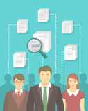 Staff Recruitment in New Business. Modern vector flat conceptual illustration of human resources management, searching for perfect staff, analyzing resume, head Stock Photo