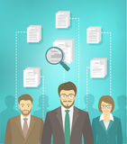 Staff recruitment in new business. Vector flat conceptual illustration of the human resources management, searching for a perfect specialist, analyzing resume of Royalty Free Stock Photography