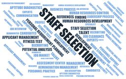 Staff selection - word cloud / wordcloud with terms about recruiting. This picture is from the serie: `word cloud / wordcloud with terms about recruiting`. The Royalty Free Stock Photos