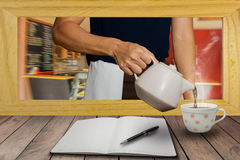 The staff served hot coffee as a desk. Royalty Free Stock Photo