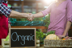 Staff shaking hand with woman in organic section. Mid-section of staff shaking hand with women in organic section of supermarket Royalty Free Stock Images