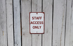 Staff only Sign. Backstage crew Stock Photo
