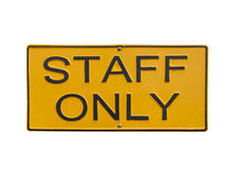 Staff only sign on white Royalty Free Stock Photo