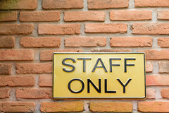Staff only sign Stock Images