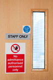 Staff only signs at laboratory Stock Image
