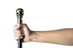 Staff with skull Holding in hand  Stock Photo