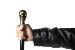 Staff with skull Holding in hand, Wizard, biker Royalty Free Stock Images