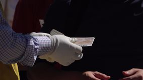 Staff Tear off Ticket Stub at the Entrance of Attraction, Close Up. Counter Control. stock footage