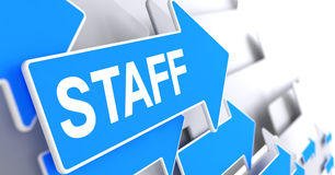 Staff - Text on the Blue Pointer. 3D. Royalty Free Stock Image