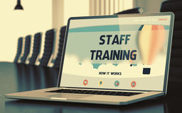 Staff Training on Laptop in Conference Room. 3D. Staff Training on Landing Page of Laptop Display in Modern Conference Hall Closeup View. Toned Image. Blurred royalty free stock image