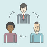 Staff turnover. Three employee and circular arrows between them. Staff turnover concept. Vector line design illustration. Square layout Stock Photo