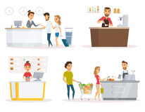 Staff vector set. Staff set. Cashier, checkout counter and buyer pays purchase in supermarket. Fast food restaurant worker at cash register. Receptionist, guest royalty free illustration