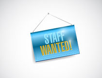 Staff wanted hanging sign illustration Stock Photos