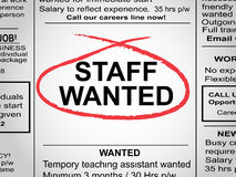 Staff Wanted Newspaper Stock Images