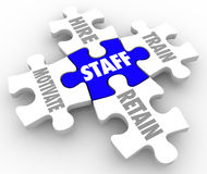 Staff Word Puzzle Pieces Hire Motivate Train Retain Human Resour Stock Images