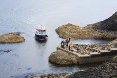 Staffa, eine Insel des inneren Hebrides in Argyll und hochgebogene Hinterkante, Schottland Lizenzfreie Stockbilder