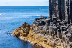 Staffa, an island of the Inner Hebrides in Argyll and Bute, Scotland. Staffa from the Old Norse for stave or pillar island, is an island of the Inner Hebrides in stock photos