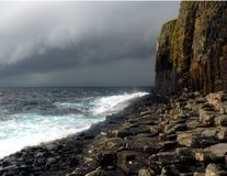 Staffa Shore. A storm at the isle of Staffa near the isle of Mull in Scotland stock images