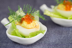 Staffed egg appetizer with red caviar garnish and dill decoratio Stock Photo