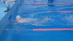 Staffellauf Wettbewerb im Pool stock video footage