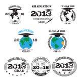 Staffelung des flachen Emblems mit 2018 Vektoren, Ausweissatz Lizenzfreies Stockbild