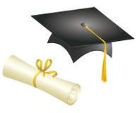 Staffelung-Schutzkappe und Diplom Lizenzfreie Stockbilder