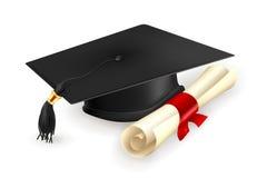 Staffelungschutzkappe und -diplom Lizenzfreies Stockfoto