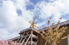Staffelungshaus mit Windmühle Stockbild