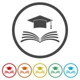 Staffelungskappe über Ikone des offenen Buches, Bildungsikone, 6 Farben eingeschlossen Stockbild