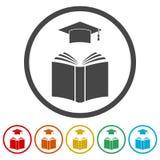 Staffelungskappe über Ikone des offenen Buches, Bildungsikone, 6 Farben eingeschlossen Lizenzfreies Stockbild