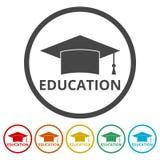 Staffelungskappe, Bildung, 6 Farben eingeschlossen Lizenzfreies Stockbild