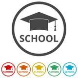 Staffelungskappe, Schule, 6 Farben eingeschlossen Stockbilder