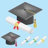 Staffelungskappe und Diplomrolle Stockbild