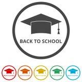 Staffelungskappe, zurück zu Schule, 6 Farben eingeschlossen Stockfotos