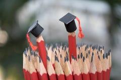 Staffelungskappenabnutzung auf 2 Bleistiften Stockbilder
