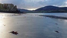 Staffin bay, the dinosaur bay, on a cloudy day - Isle of Skye, Scotland.  stock video footage