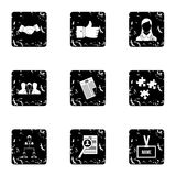 Staffing agency icons set, grunge style Royalty Free Stock Photography