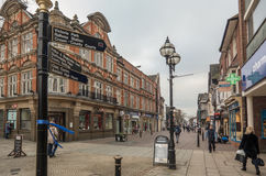 Stafford High Street, Staffordshire. The main high street in Stafford's town center Stock Photo