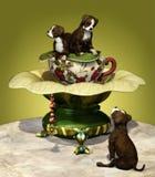 Staffordshire Puppies. A decorative illustration with three Staffordshire puppies Royalty Free Stock Photo