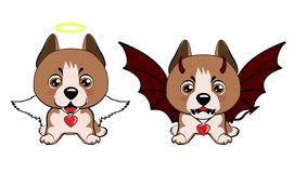 Devil Dog with horns and bat wings and happy dog angel. Staffordshire Terrier dog. Devil Dog with horns and bat wings and happy dog angel royalty free illustration