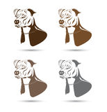 Staffordshire terrier dog silhouette. Set Royalty Free Stock Photo