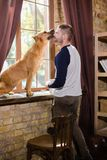 Staffordshire terrier licking face of young sportive man. Male having fun with his dog at home Royalty Free Stock Image