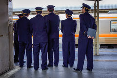 Staffs at the station in Nagoya, Japan Stock Photos