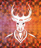 Stag with antlers on brown and orange pattern Stock Photo