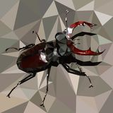 Stag beetle, brown bug on a grey background, colorful mosaic. Stag beetle, big brown bug on a grey background, colorful mosaic Stock Photos