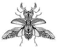 Stag-beetle tattoo. psychedelic, zentangle style. Royalty Free Stock Photo