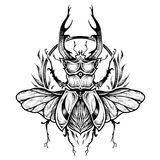 Stag-beetle tattoo. psychedelic, zentangle style. vector illustration vector illustration
