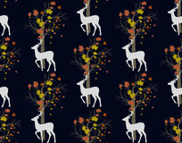 Stag deer and tree.seamless pattern Royalty Free Stock Photo